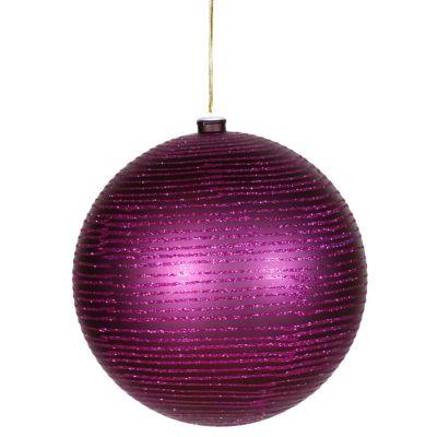 "Plum Purple Glitter Striped Shatterproof ChristmasBall Ornament 4.75"" (120mm)"""