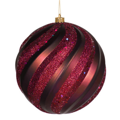 "Plum Purple Glitter Swirl Shatterproof Christmas Ball Ornament 6"" (150mm)"""