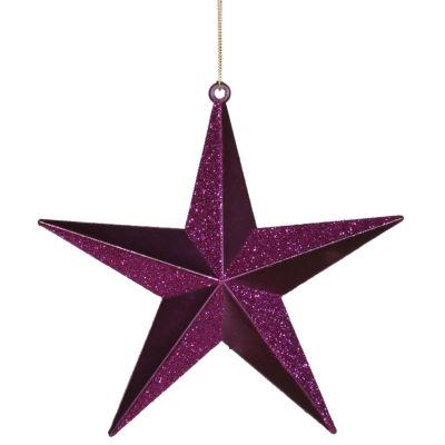 "Plum Purple Matte & Glitter Shatterproof Star Christmas Ornament 6"""