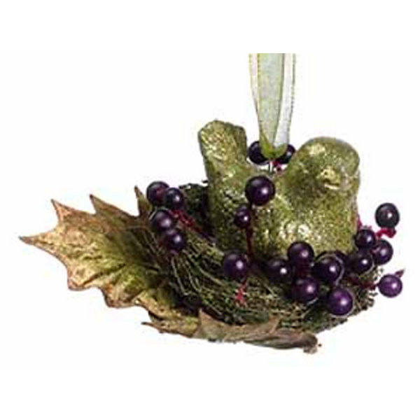 Princess Garden Opulent Green Glitter Bird in Nest Christmas Ornament