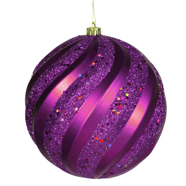 "Purple Glitter Swirl Shatterproof Christmas Ball Ornament 6"" (150mm)"""