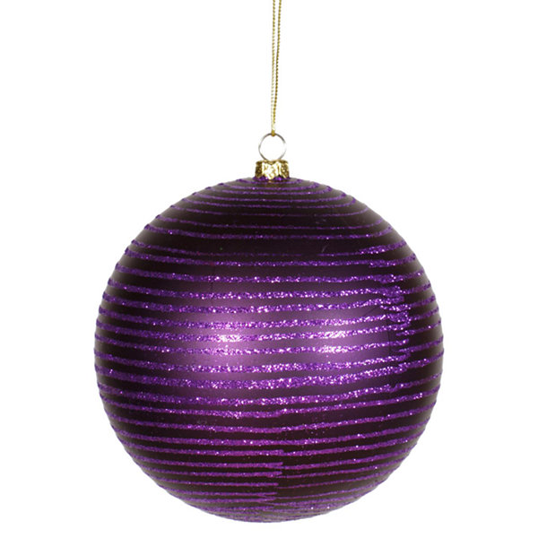 "Purple Passion Glitter Stripe Shatterproof Christmas Ball Ornament 4.75"" (120mm)"""