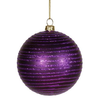 "Purple Passion Glitter Striped Shatterproof Christmas Ball Ornament 3"" (75mm)"