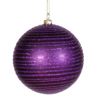 "Purple Passion Glitter Striped Shatterproof Christmas Ball Ornament 4"" (100mm)"""