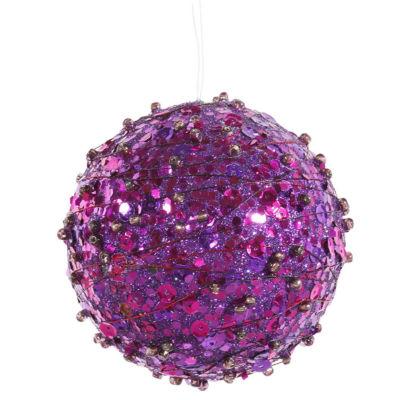"Purple Sparkle Kissing Christmas Ball Ornament 4""(100mm)"""