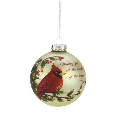 "Red Cardinal ""Wishing You All the Wonders of the Season"" Glass Ball Christmas Ornament 3.5"" (90mm)"""