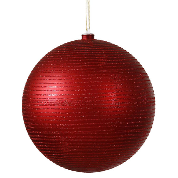 "Red Hot Glitter Striped Shatterproof Christmas Ball Ornament 4"" (100mm)"""