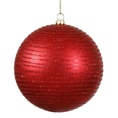 "Red Hot Glitter Striped Shatterproof Christmas Ball Ornament 4.75"" (120mm)"""