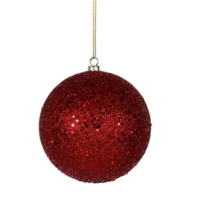 "Red Hot Holographic Glitter Shatterproof Christmas Ball Ornament 8"" (200mm)"