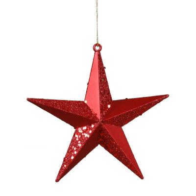 "Red Hot Matte & Glitter Shatterproof Star Christmas Ornament 6"""
