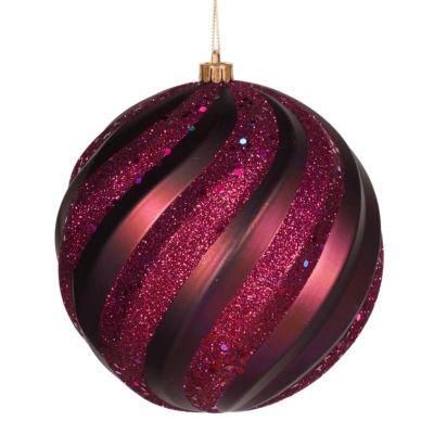 "Red Plum Matte and Glitter Swirl Shatterproof Christmas Ball Ornament 8"" (200mm)"""