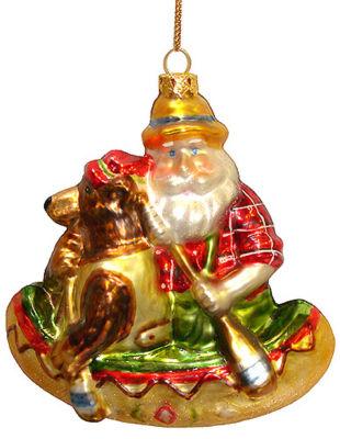 Santa Claus & Brown Bear Canoeing Glass Christmas Ornament #823041 A