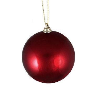 "Satin Burgundy Shatterproof Christmas Ball Ornament 4"" (100mm)"""