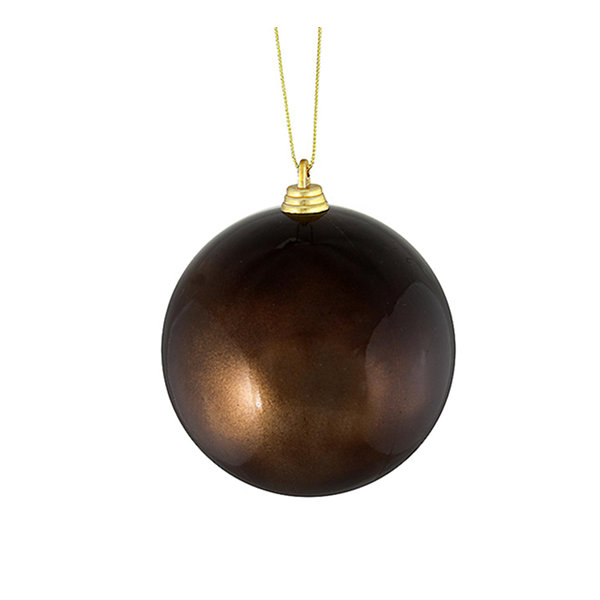 "Satin Chocolate Brown Shatterproof Christmas Ball Ornament 4"" (100mm)"""