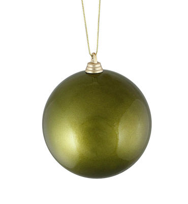 "Satin Olive Green Shatterproof Christmas Ball Ornament 4"" (100mm)"""