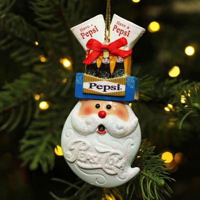 "3.75"" Glittered Santa Head Balancing Pepsi Christmas Ornament"""