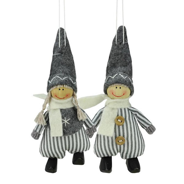 Set of 2  White and Gray Boy and Girl Decorative Hanging Christmas Ornaments 5.5""