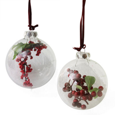 """Set of 2 Clear Glass Christmas Ball Ornaments with Red and Burgundy Berries 3.5"""""""
