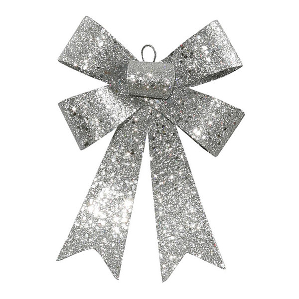 "7"" Silver Glitter 5 Loop Bow Decorative ChristmasOrnament"""