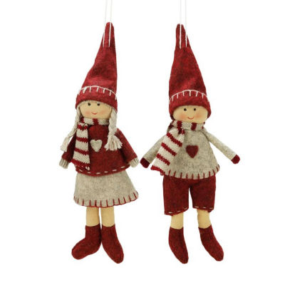 Set of 2 Light Gray and Red Boy and Girl Decorative Hanging Christmas Ornaments 5.5""