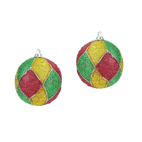 Set of 2 Red  Green  Silver & Gold Glitter Mardi Gras Christmas Ball Ornaments 3""
