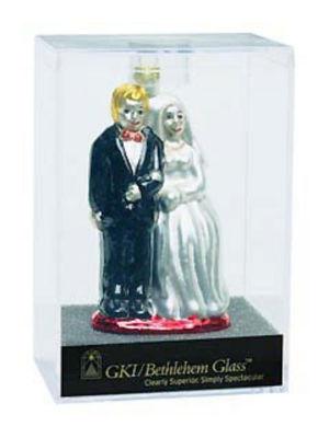 "Set of 24 Glittery 4"" Bride And Groom Glass Wedding Christmas Ornament #822203"""