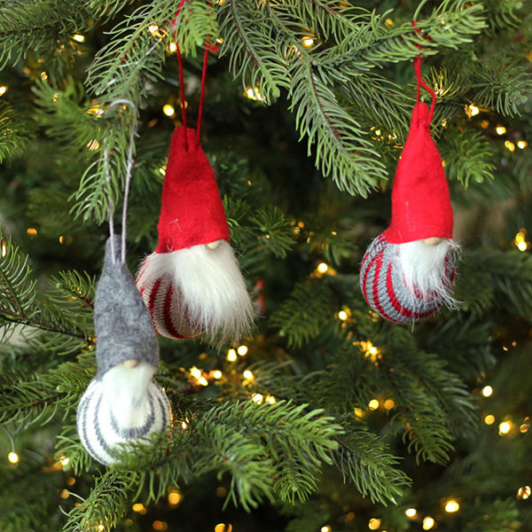 Set of 3 Decorative Red White and Gray Santa GnomeHanging Christmas Ornaments 4.75""