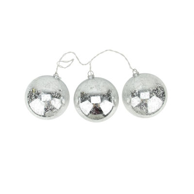 Set of 3 Lighted Silver Mercury Glass Finish Ball Christmas Ornaments - Clear Lights