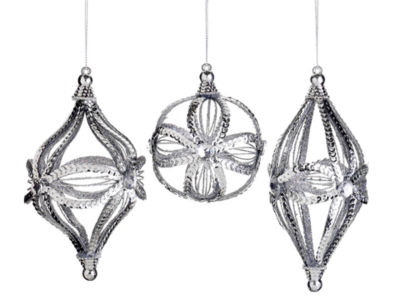 """Set of 3 Sparkling Whites Silver Sequin Ball  Onion & Finial Christmas Ornaments 6"""""""