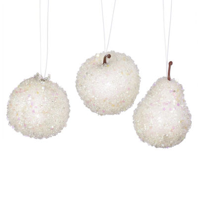 Set of 3 White Beaded Frozen and Glittered Apple Pear and Pomegranate Fruit Christmas Ornaments 3.25""