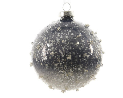 "Set of 3 Winter Light Ombre Periwinkle Beaded Glass Christmas Ball Ornaments 3"" (80mm)"""
