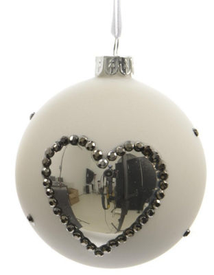 "Set of 3 Winter Light White with Silver Heart Glass Christmas Ball Ornaments 3"" (80mm)"""