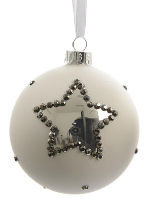 "Set of 3 Winter Light White with Silver Stars Glass Christmas Ball Ornaments 3"" (80mm)"""