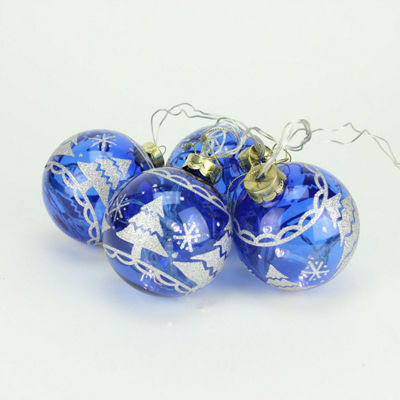 Set of 4 Battery Operated Blue Glass Ball LED Lighted Christmas Ornaments