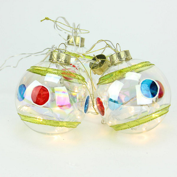 Set of 4 Battery Operated Stripe and Dot Glass Ball LED Lighted Christmas Ornaments