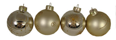 Set of 4 Champagne Shatterproof Christmas Ball Ornaments with Glitter 3.25""