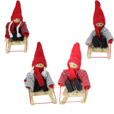 Set of 4 Colorful Holiday Kids on Sleds Christmas Ornament Decorations 4""