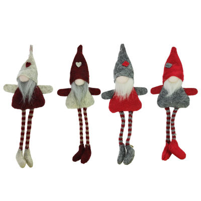 """Set of 4 Plush Red Gray and Beige Decorative GnomeHanging Christmas Ornaments 8"""""""