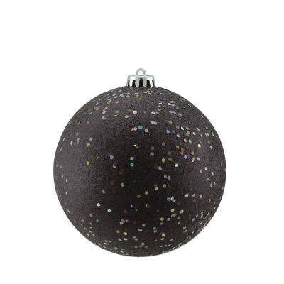 "Shatterproof Jet Black Holographic Glitter Christmas Ball Ornament 6"" (150mm)"""
