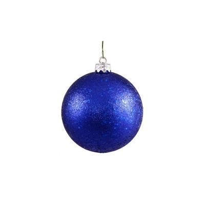"Shatterproof Lavish Blue Holographic Glitter Christmas Ball Ornament 4"" (100mm)"""