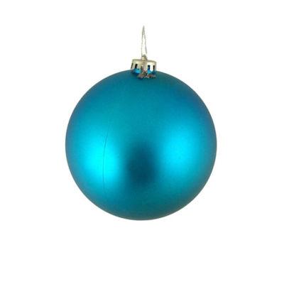 "Shatterproof Matte Turquoise Blue Christmas Ball Ornament 4"" (100mm)"""