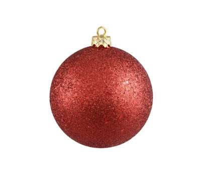 "Shatterproof Red Hot Holographic Glitter ChristmasBall Ornament 8"" (200mm)"
