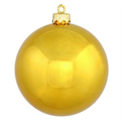 "Shiny Antique Gold UV Resistant Commercial Shatterproof Christmas Ball Ornament 4"" (100mm)"""