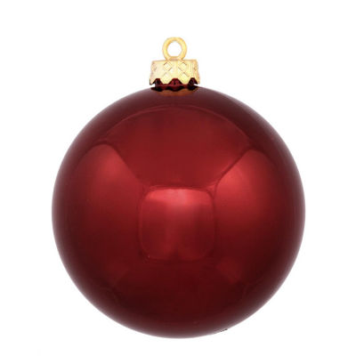"Shiny Burgundy Red UV Resistant Commercial Shatterproof Christmas Ball Ornament 4"" (100mm)"""