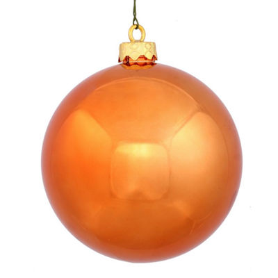 "Shiny Burnt Orange UV Resistant Commercial Drilled Shatterproof Christmas Ball Ornament 2.75"" (70mm)"""