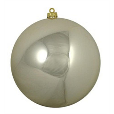 "Shiny Champagne UV Resistant Commercial Drilled Shatterproof Christmas Ball Ornament 10"" (250mm)"""