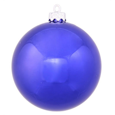 "Shiny Cobalt UV Resistant Commercial Drilled Shatterproof Christmas Ball Ornament 8"" (200mm)"""