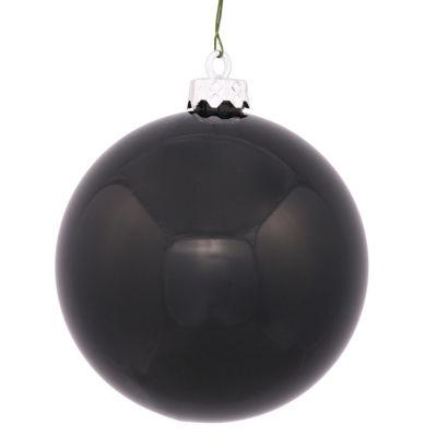 """Shiny Jet Black UV Resistant Commercial Shatterproof Christmas Ball Ornament 4"""" (100mm)"""""""
