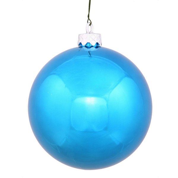 "Shiny Turquoise UV Resistant Commercial Drilled Shatterproof Christmas Ball Ornament 2.75"" (70mm)"""