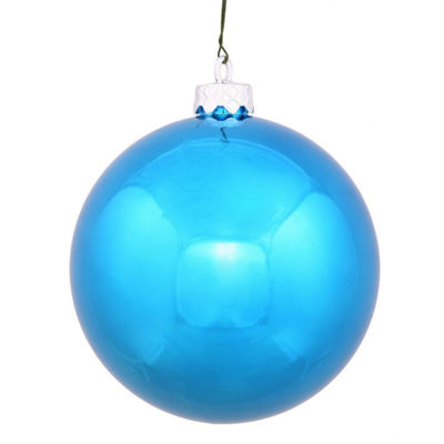 "Shiny Turquoise UV Resistant Commercial Drilled Shatterproof Christmas Ball Ornament 8"" (200mm)"""
